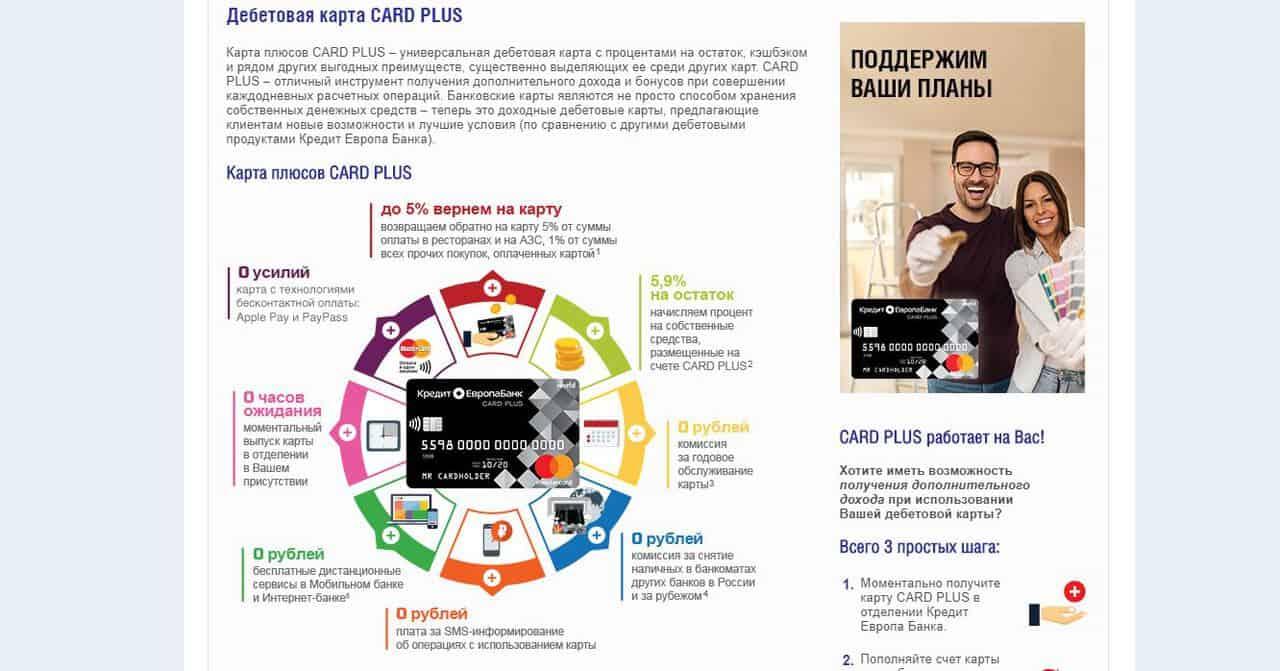 Что такое моментальная дебетовая карта и для чего она нужна? Список предложений от банков - CARD PLUS от Кредит Европа Банк - фото