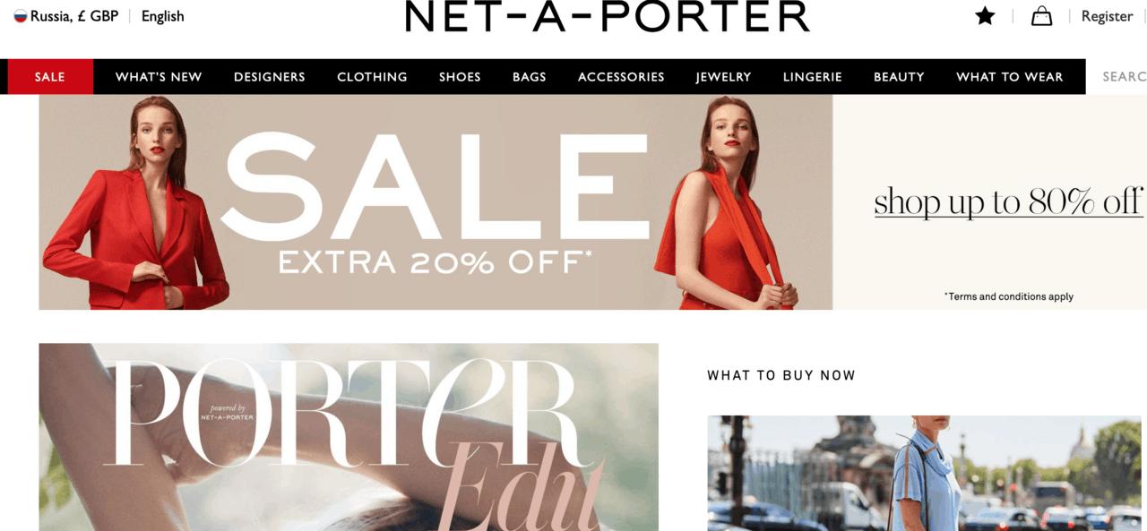 Рейтинг лучших зарубежных интернет-магазинов одежды с доставкой в Россию - Net-A-Porter - фото